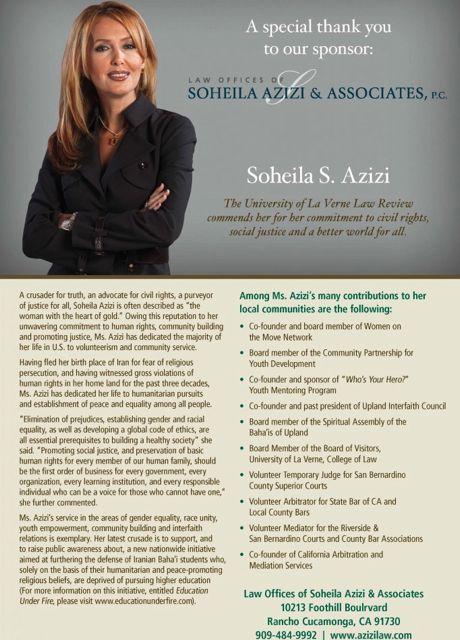 La Verne University Tribute Poster for Soheila Azizi